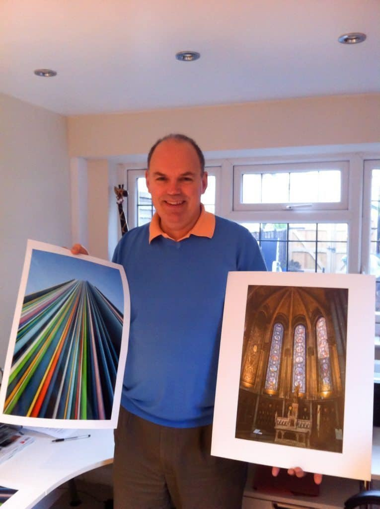 Paul Griffiths with his prints