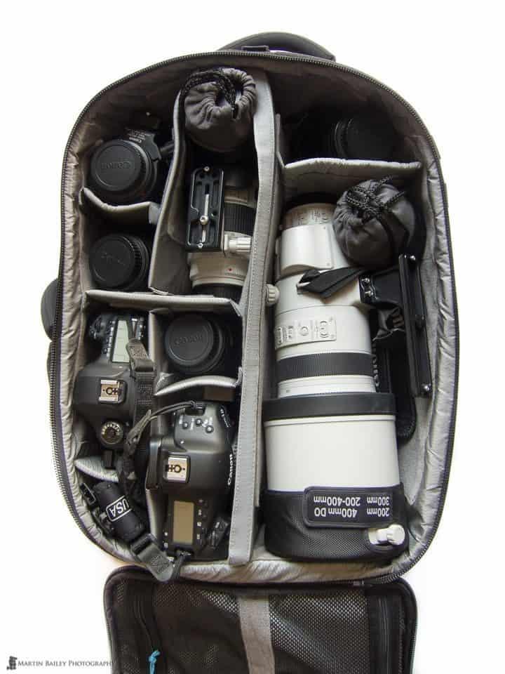 200-400mm f/4 Lens in a Gura Gear Bataflae 32L Backpack