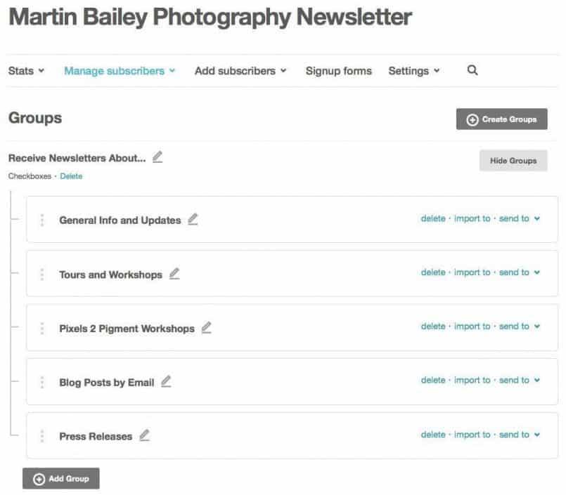 MBP Newsletter List Groups