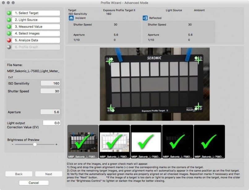 Sekonic DTS Analyze Data Screen
