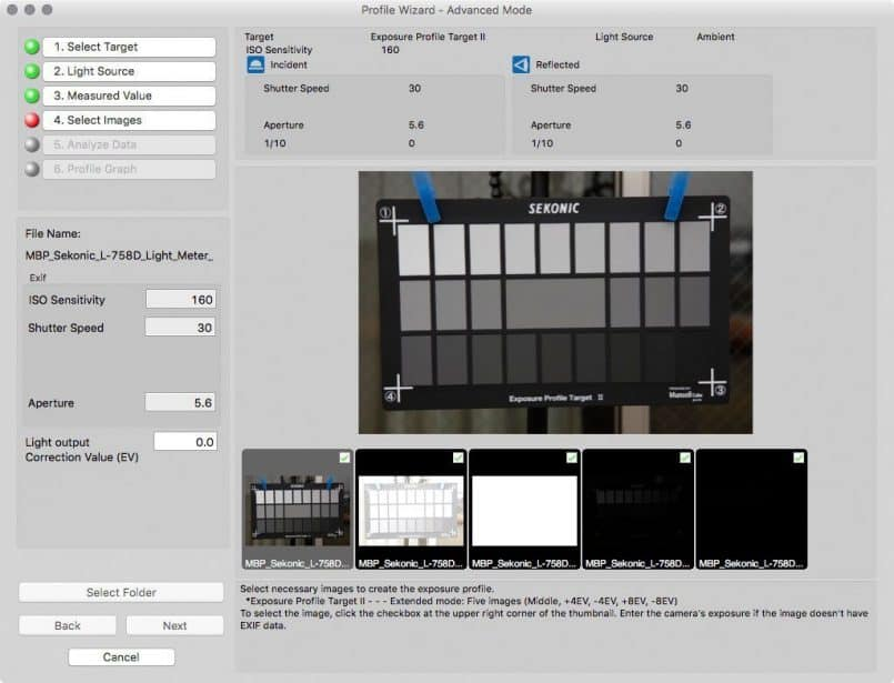 Sekonic DTS Select Images Dialog