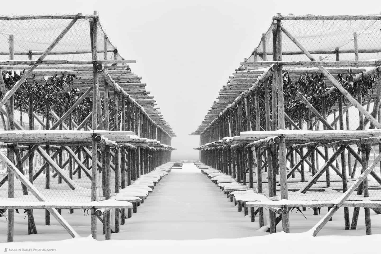 Fish Drying Racks in Snow