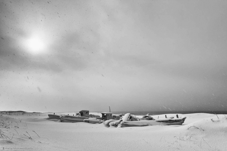 Boat Graveyard in Heavy Snow