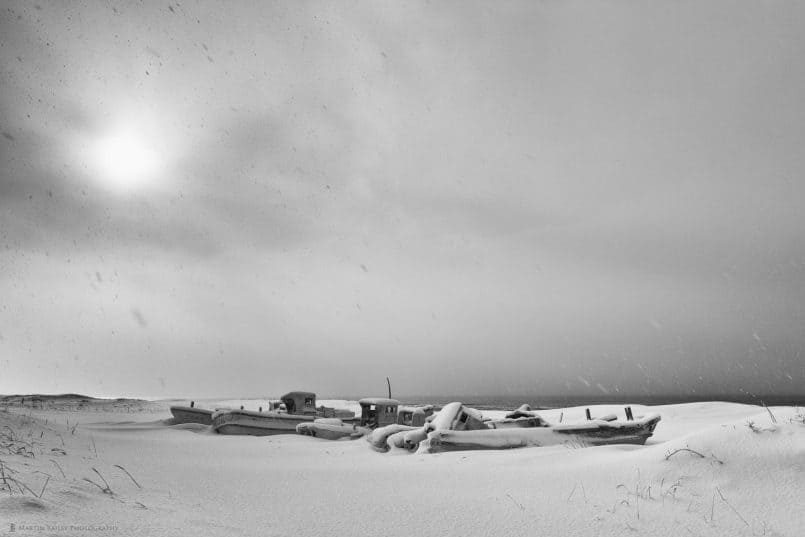 Boat Graveyard in Heavy Snow