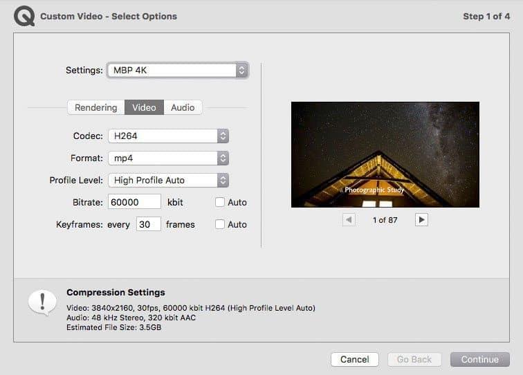 4K Video Settings