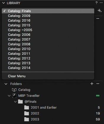 Catalog Selection Pulldown