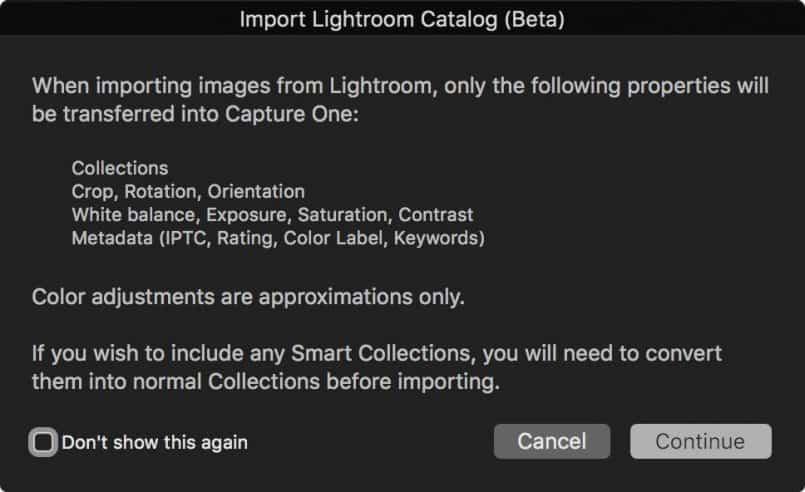 Capture One Import Lightroom Catalog Dialog
