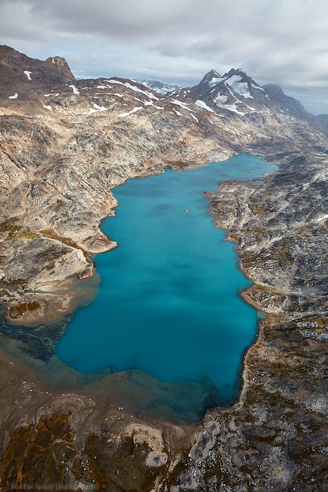 Blue Lake and Mountains Near Tasiilaq