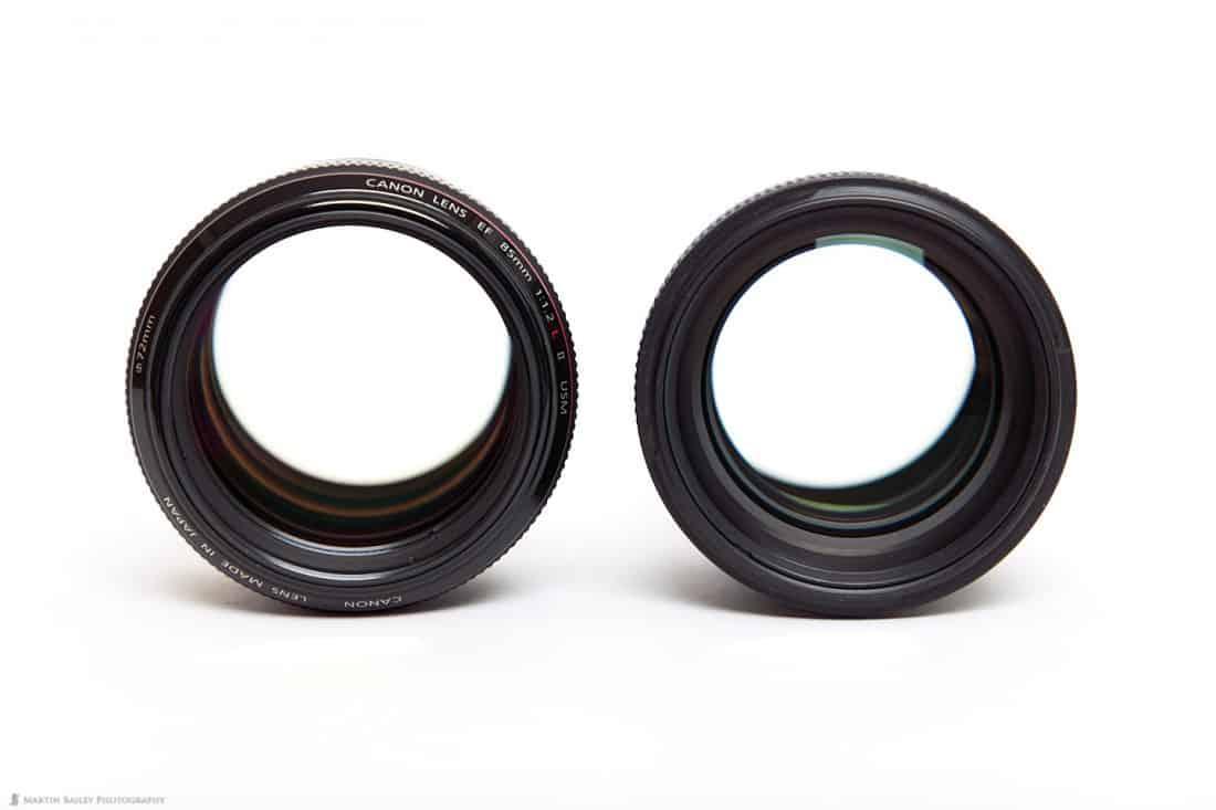 Canon EF 85mm f/1.2L II lens (left) and f/1.4L IS Lens (right)