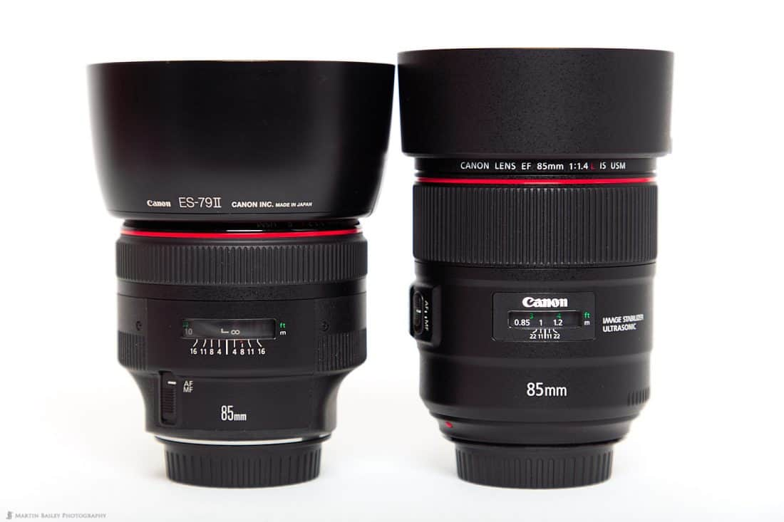 85mm f/1.2L II (left) 85mm f/1.4L IS (right) with Hoods