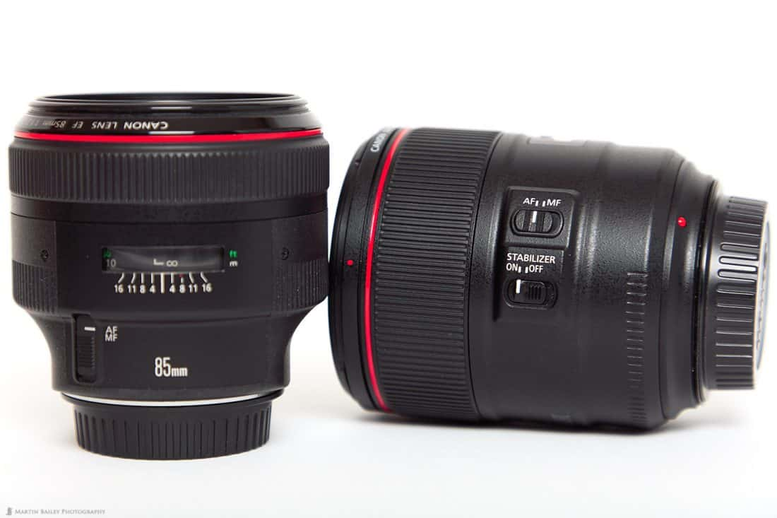Canon EF 85mm f/1.4L IS Lens (right)