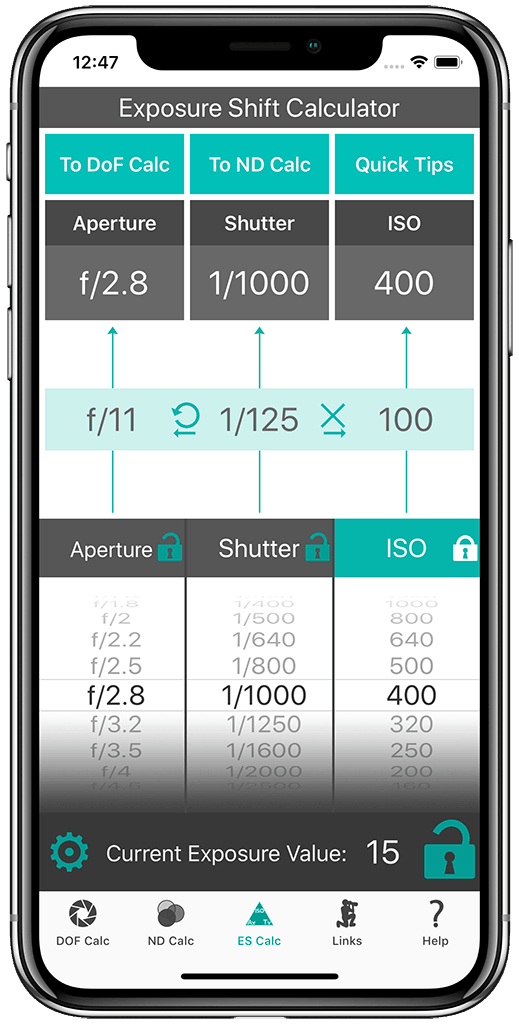 Exposure Shift Calculator Aperture Locked