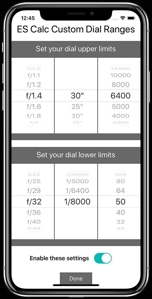 Exposure Shift Calculator Settings