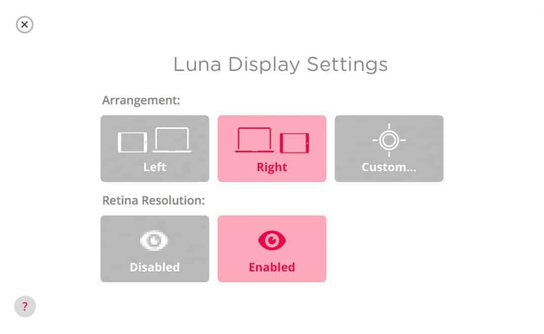 Luna Display Settings Screen