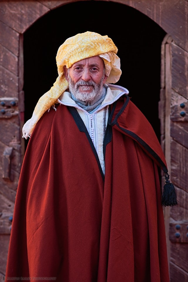 Moroccan Man in Cape and Yellow Turban