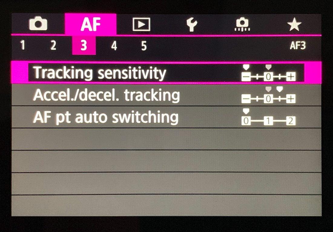 EOS R Tracking Settings