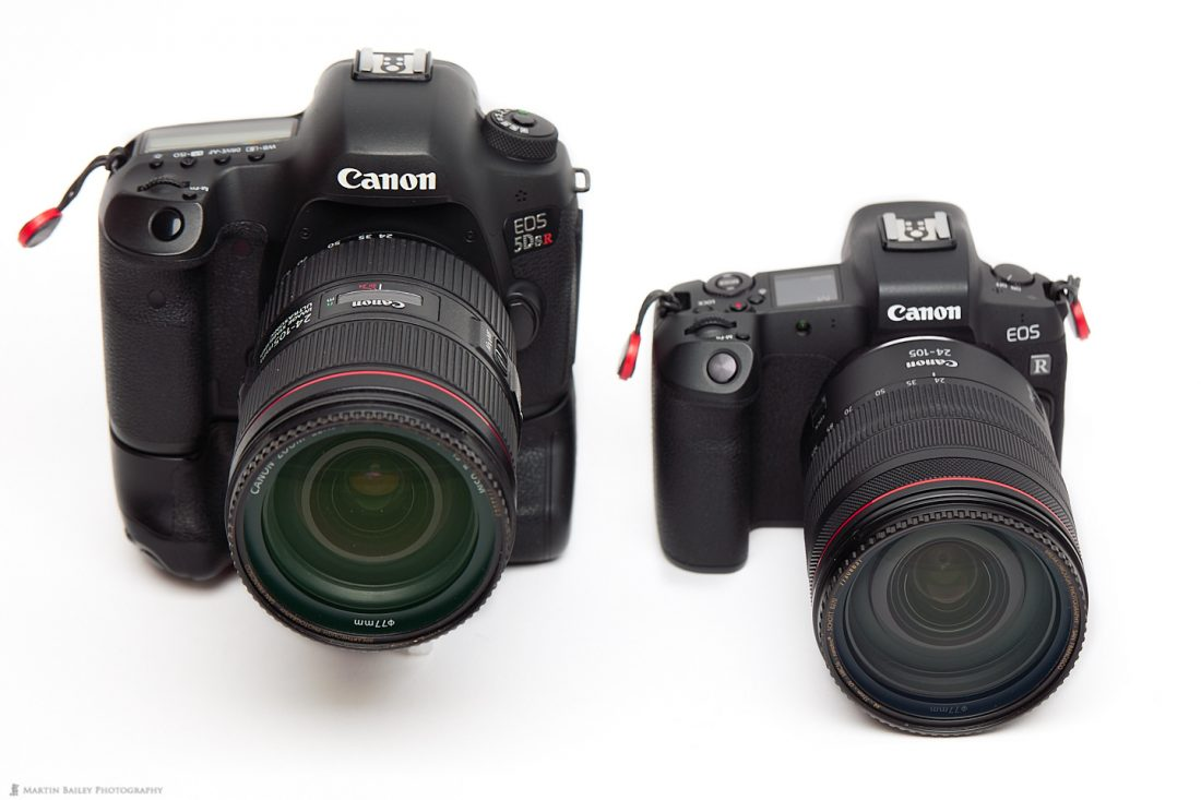 Canon EOS 5Ds R with Battery Grip (left) and EOS R (right)