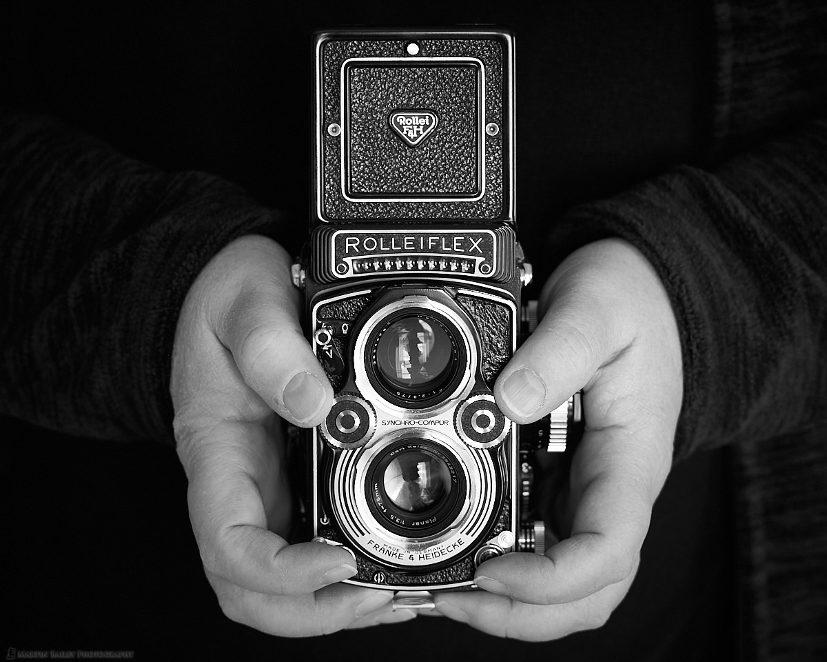 Holding the Rolleiflex 3.5F