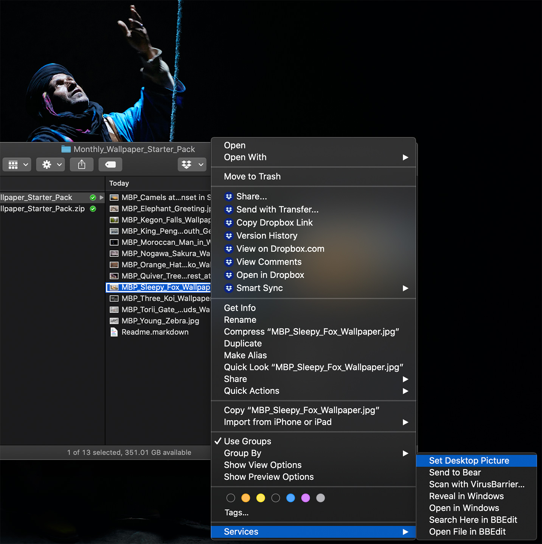 Setting as Desktop Background