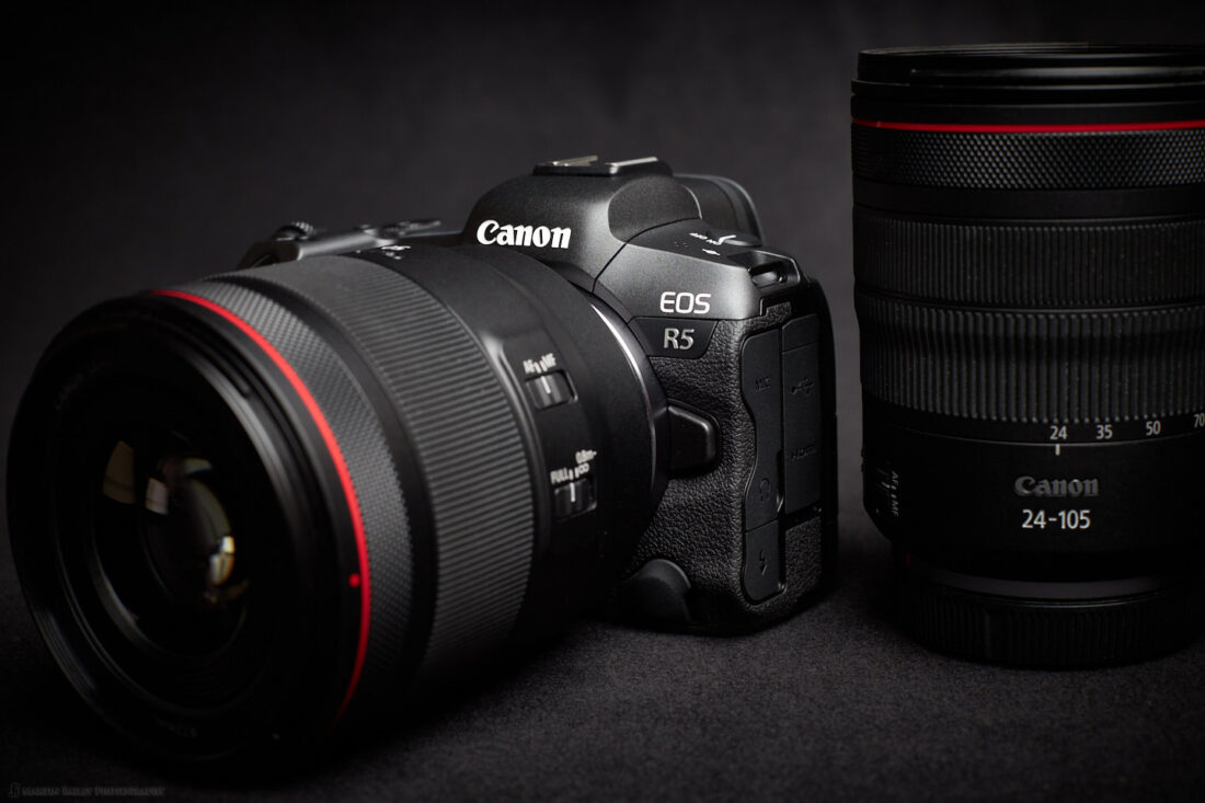 The Canon EOS R5 with 50mm and 24-105mm RF Lenses