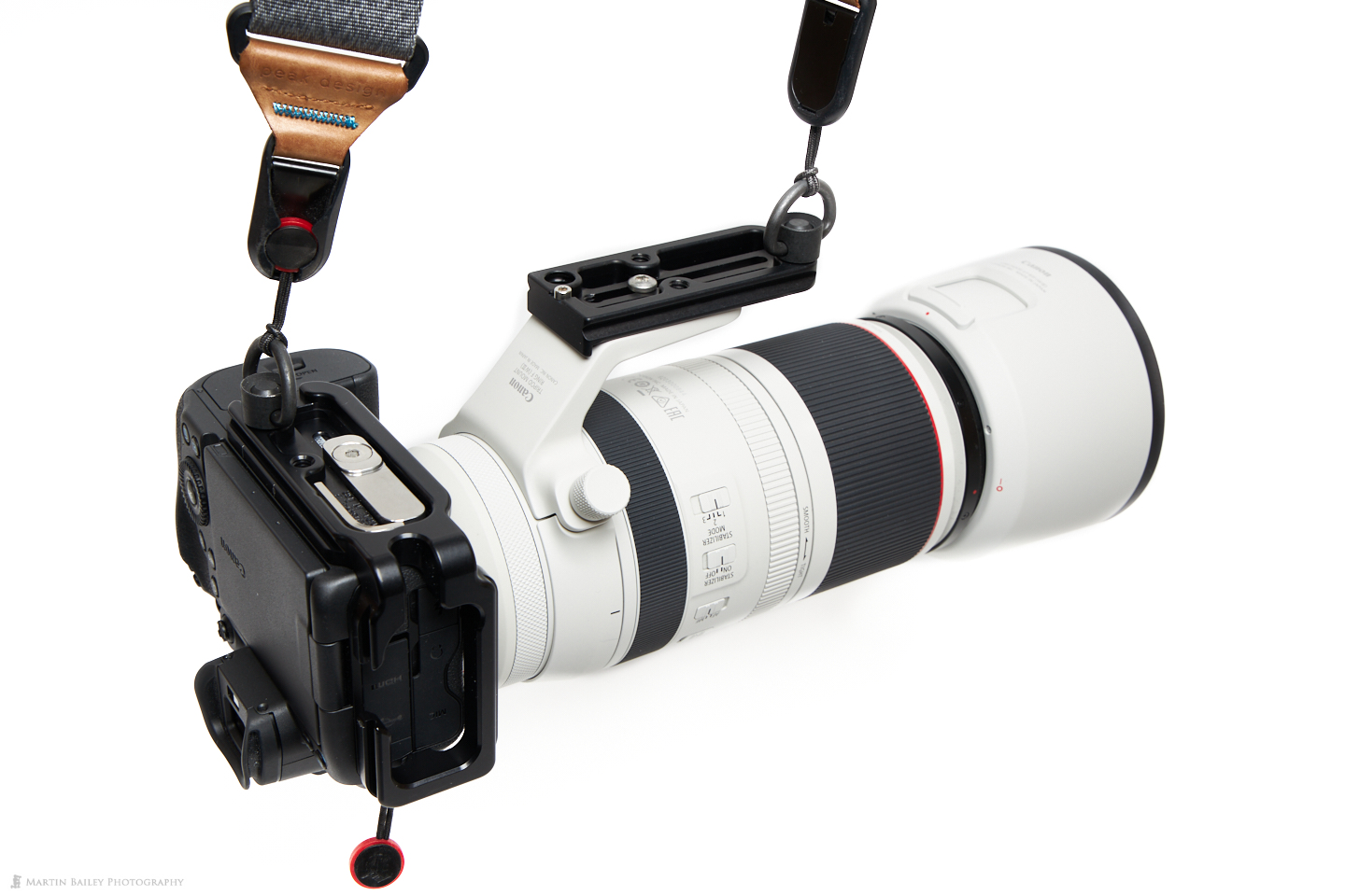 Canon EOS R5 and 100-500mm Lens with Strap Attached by Really Right Stuff Quick Detatch D Loops
